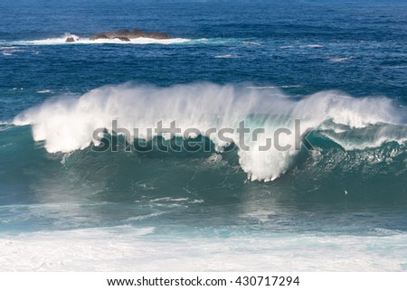 Big wave at Porto Moniz, Madeira Island, Portugal