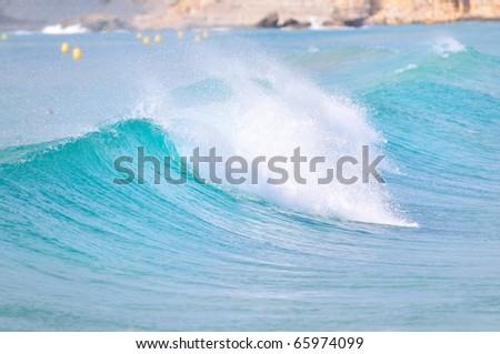 big wave breaking - summer background - stock photo