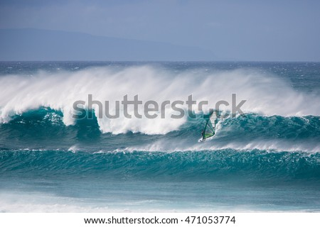 Big wave windsurfing at Hookipa Beach, Maui, Hawaii