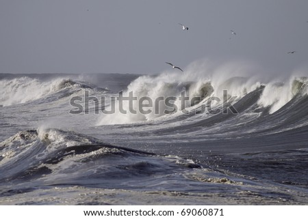 Big waves during a storm in the north Portuguese coast - stock photo