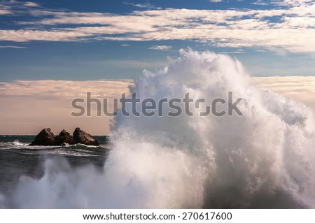 big waves in a storm at sea
