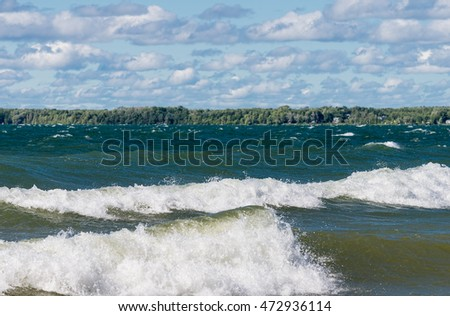 Big waves on Lake Simcoe in Ontario