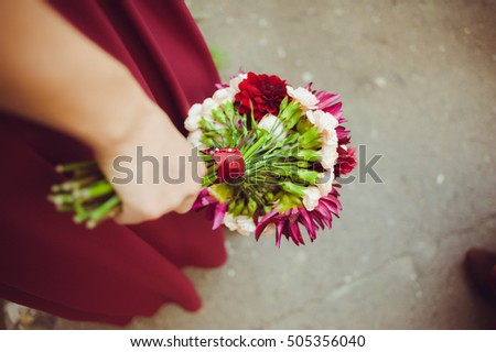 Big wedding bouquet before ceremony.