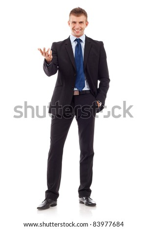 big welcome from a young business man over white background