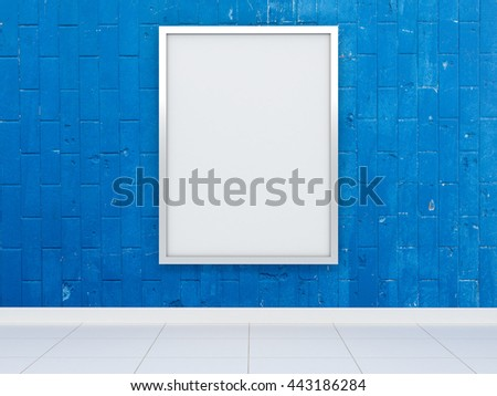 Big white billboard with shiny reflective chrome metal frame on the blue painted wall tiles. Advertisement in the subway transit street shopping center market shop restaurant premises. 3d illustration - stock photo