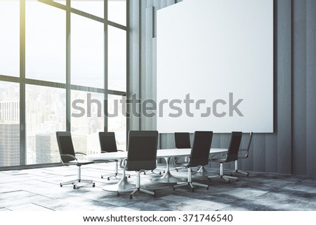 Big white blank poster on the wall in loft conference room at sunrise, mock up 3D Render - stock photo