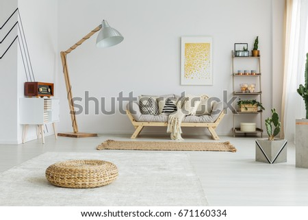Big White Carpet And Brown Rug In Spacious Living Room