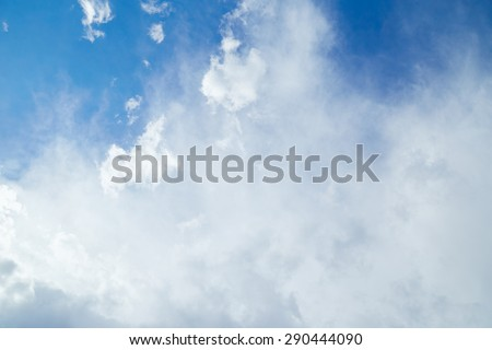 Big white clouds in blue sky. Nature background
