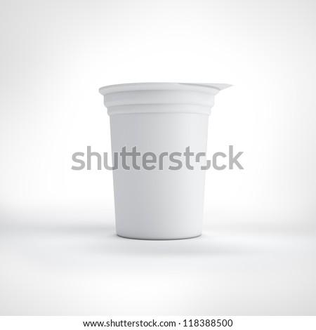 Big white food plastic container - stock photo