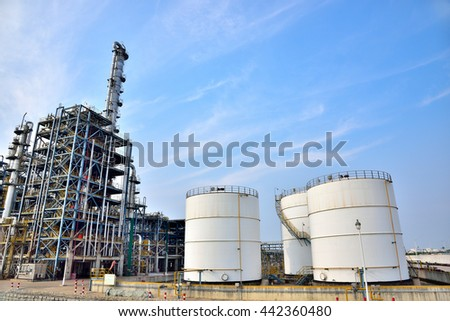 Big white gasoline and oil industry and the background of blue sky white clouds in the refinery of storage tanks