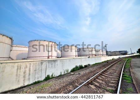 Big white gasoline and oil industry background of railway transportation of storage tanks
