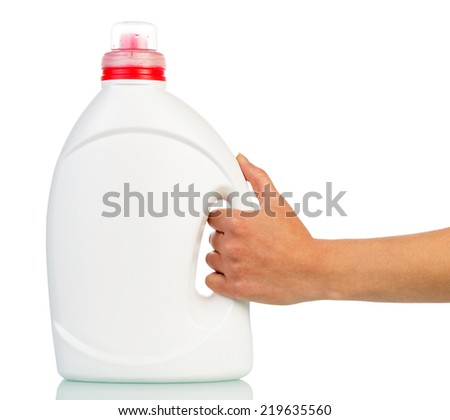 Big white plastic bottle in hand isolated on white - stock photo