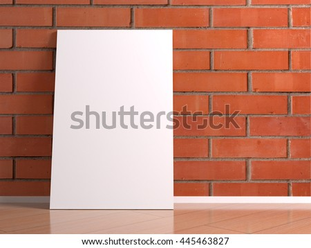 Big white poster with reflection on the red brick wall tiles on a wooden floor laminate. Clean canvas in interior room with blank mock up for design, photo, text, advertising. 3d illustration