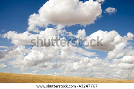 Big white puffy clouds in the sky - stock photo