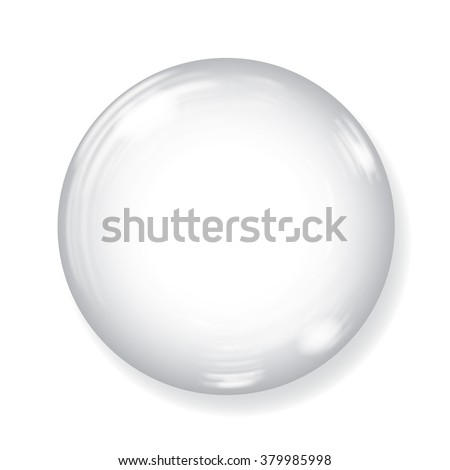 Big white sphere with glares and shadow on white background