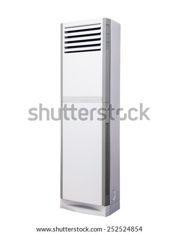 big white standing air conditioner isolated on white - stock photo