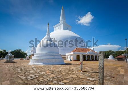 Big white stupa Ruwanwelisaya Chedi in Anuradhapura, Sri Lanka - stock photo