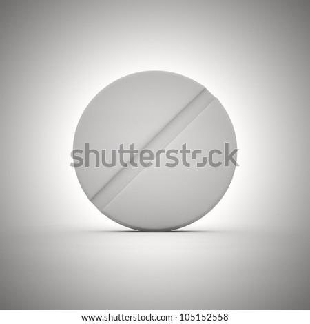 Big white tablet of round shape - stock photo