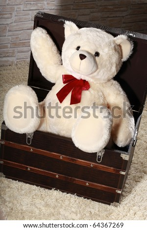 Big white teddy bear waiting in wood chest on attic - stock photo