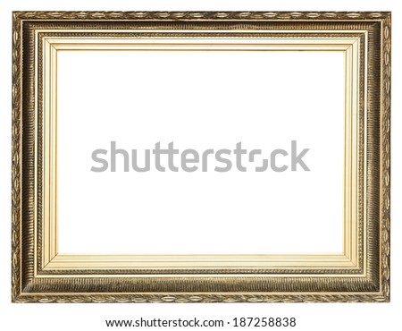 big wide golden ancient wooden picture frame with cut out canvas isolated on white background