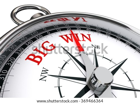 Big win the way towards indicated by concept compass, isolated on white background