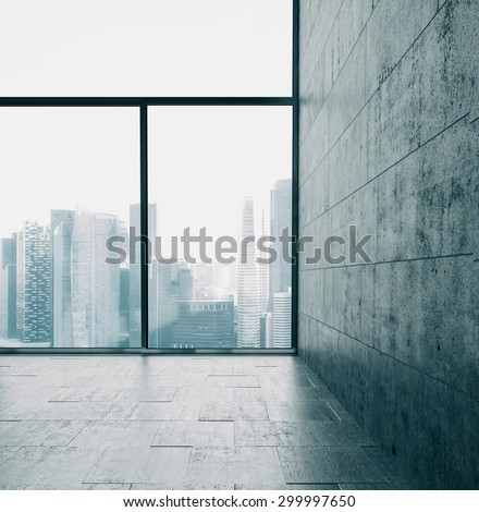 Big windows and cocrete wall. 3d render - stock photo