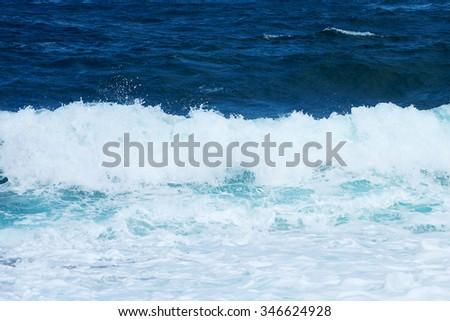 Big windy waves. Storm begins. - stock photo