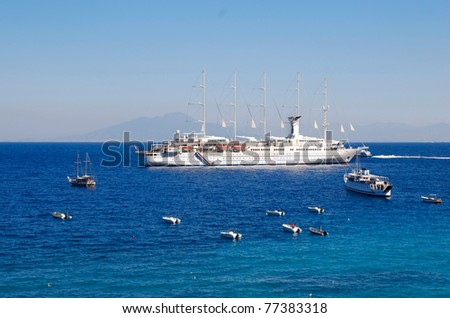 Big yacht in the sea - stock photo
