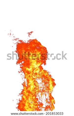 Big yellow flames on white background
