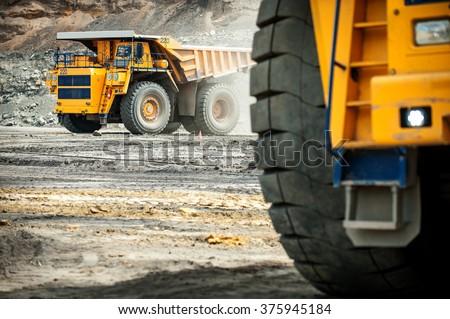 Big yellow mining truck.  - stock photo