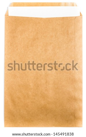 Big Yellow Recycled Envelope craft document with paper letter  card on white background, closeup - stock photo