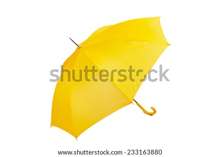 Big yellow umbrella on a white background - stock photo