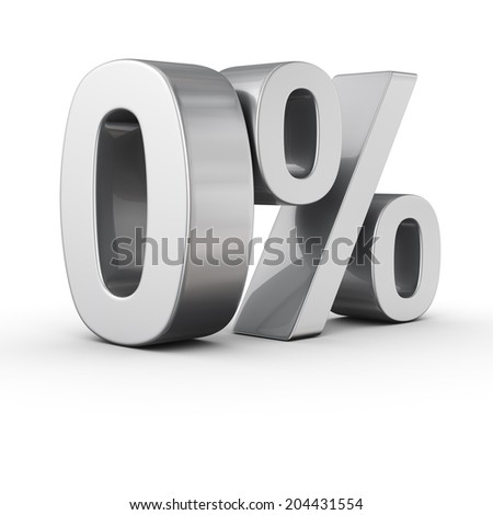 Big zero percent sign on white background - stock photo