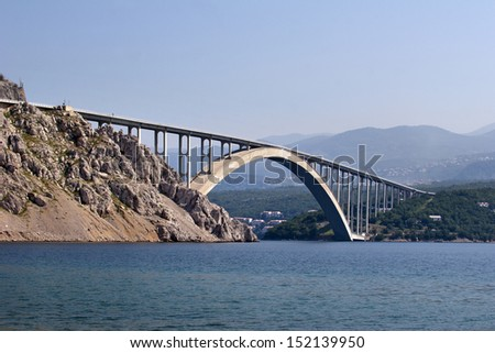 Bigger arch of bridge Krk, view from water level