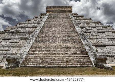 Biggest and famous piramid Ell Castillo in Chichen Itza town. - stock photo