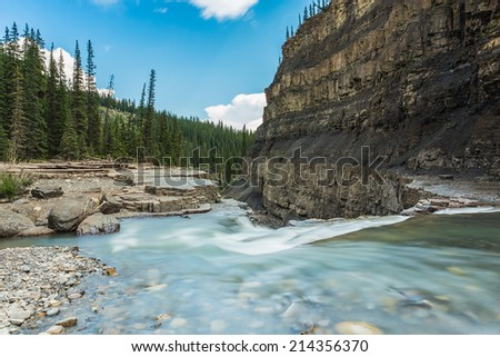 Bighorn canyon with crescent falls alberta canada - stock photo