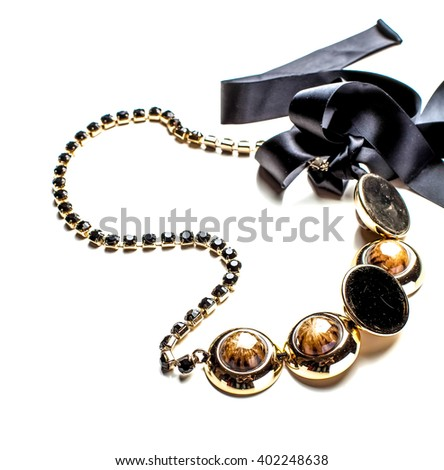 bijouterie necklace from decorative beads isolated close up - stock photo