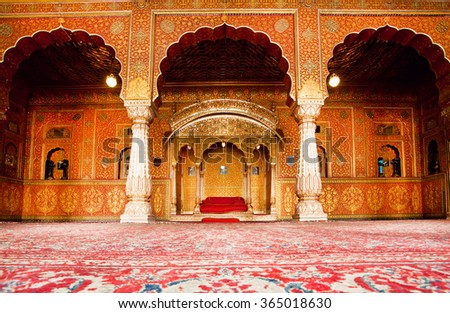 BIKANER, INDIA - FEB 4: Golden rest room of maharajah in the palace of 16th century Junagarh Fort on February 4, 2015. The 5.28 hectares large Junagarh fort precinct is studded with temples - stock photo