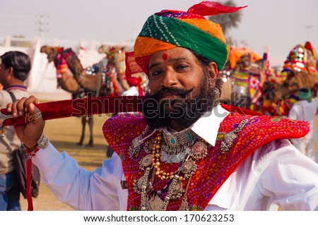 BIKANER, INDIA - January 10: Unidentified people participate in Camel Festival on January 10, 2009 in Bikaner, Rajastan, India.  The pageant takes place in January in Bikaner every year.