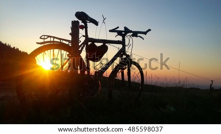 Bike adventure biking nature sunset sky.