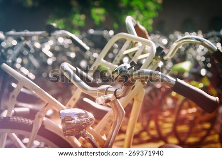 bike Amsterdam. photos processed in the style of instagram. retro vintage. - stock photo