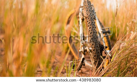 bike and Background of grass and flowers at sun rise, soft focus and blur. - stock photo