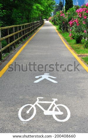 Bike and pedestrian path, Italy - stock photo