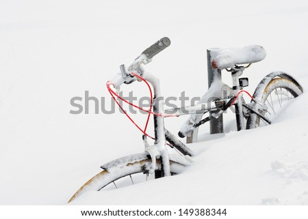 Bike Buried in Snow - stock photo