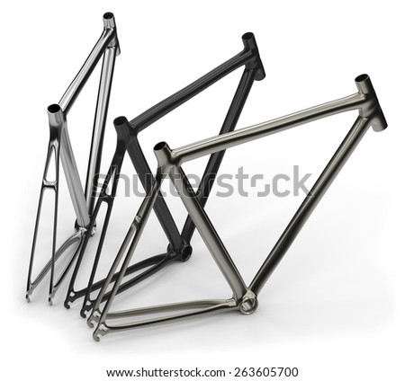 Bike frames isolated on white - stock photo