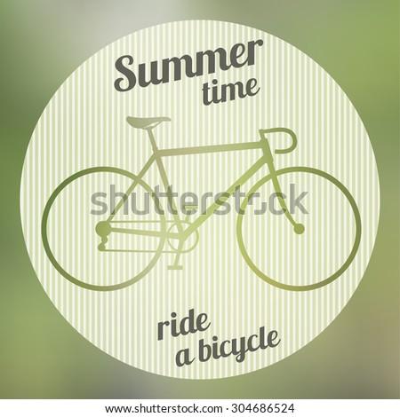 Bike green logo on the gradient background. Raster version - stock photo