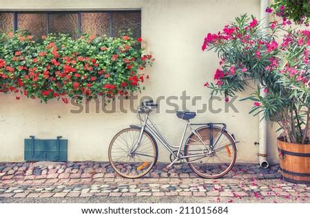 bike in France town  - stock photo