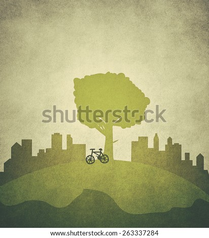 bike in the city (vintage style) - stock photo