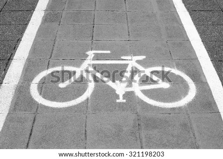 Bike lane and white bike symbol