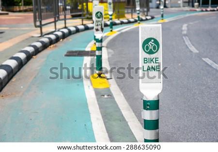 bike lane in city - old town Bangkok - stock photo